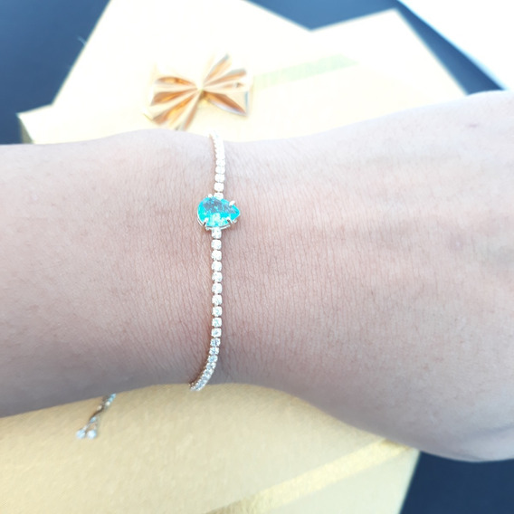 Pulseira Bracelete Dourada Folheada A Ouro 18k Com Zircônia Para Noiva E Debutante Com Gota Azul Água - Regulável