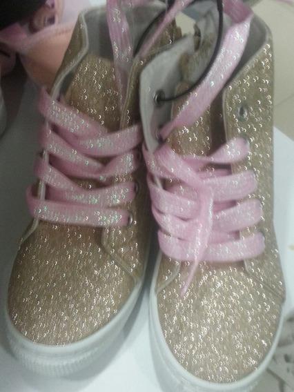 Zapatos Tipo Botin Para Niñas Plateado Dorado Negro Y Blanco