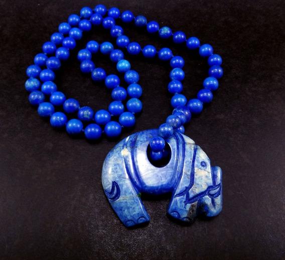 Lindo Colar Em Lapis Lazuli Elefante Poder E Boa Sorte Ny075