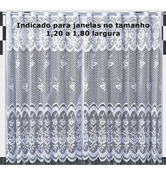 Cortina De Cozinha Em Renda Karla Branca 2,00m X 1,20m