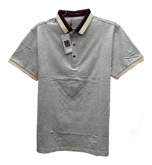 Playera Tipo Polo Lisa Ch Color Gris Cuello Beige
