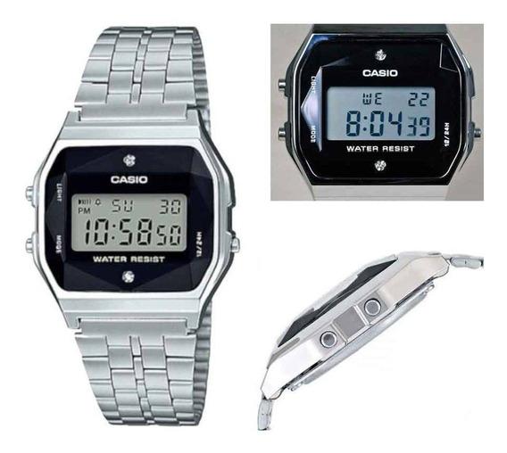 Relógio Casio A159wad 1df Diamante Prata Retro Original Nf