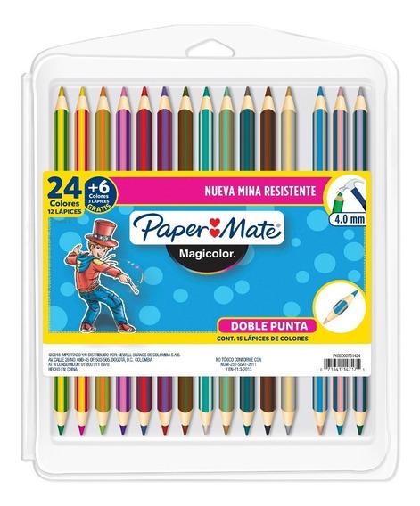 Caja De Colores Doble Punta Paper Mate 12 Lápices + 3 Gratis