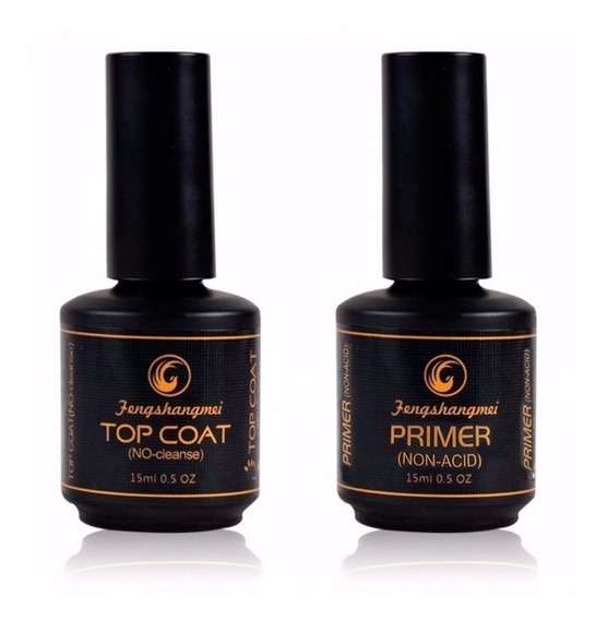 Kit Top Coat + Primer No Acid Pretinho Fengshangmei Poder