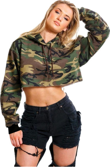 Blusa Cropped Moletom Feminino Com Capuz Camuflada Moleton
