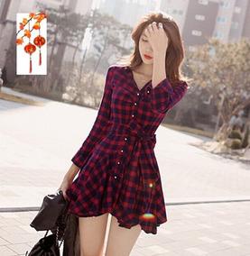 Tokio Asia Mini Vestido Cinto Cuadros Franela Marino Ytd2