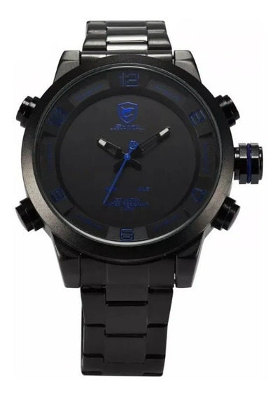 Relógio Masculino Shark Anadigi Sh-362 - Preto E Azul