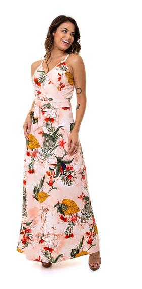 Vestido Kinara Longo Crepe Bojo Estampado Rosa