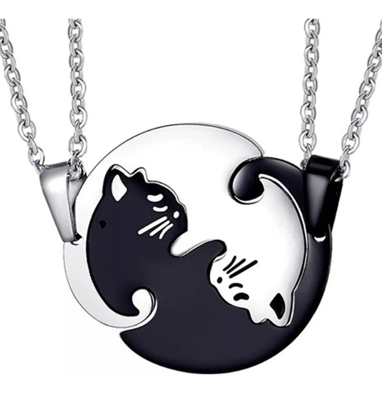 Collar Yin Yang De Gatos De Acero Inoxidable