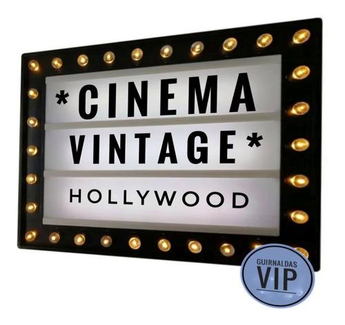 Pizarra Cinema Vintage Luces Led Usb 30*38*5