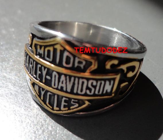 Anel Em Aço Inox 316l C/ Dourado Harley Davidson-importado