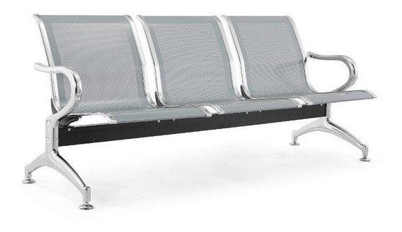 Cadeira Longarina 3 Lugares Aço Aeroporto Espera Consultório