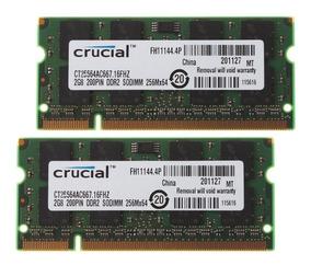 Memória Note 2 X 2gb 4gb Ddr2 800 Crucial Nova Frete Grátis