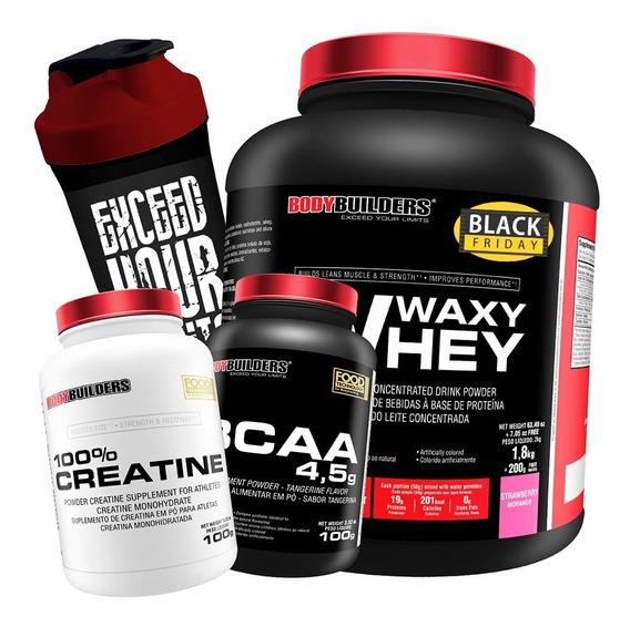 Kit Whey Protein 2kg + Bcaa + Creatina + Coqueteleira