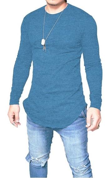 Camiseta Longline Oversized Camisa Masculina Blusa Turquesa