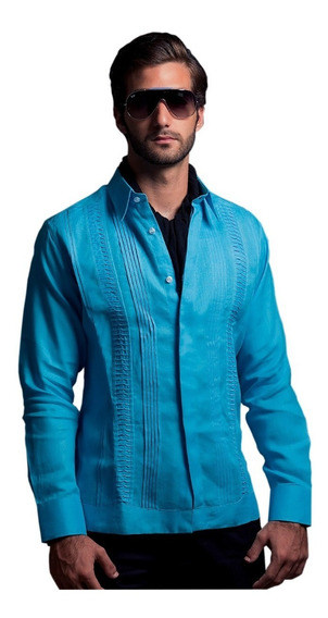 Camisa Guayabera Hombre 100% Algodón Manga Larga G004
