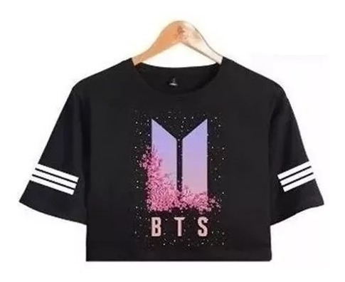Camiseta Cropped Bts Kpop Army Flores Integrantes Feminino