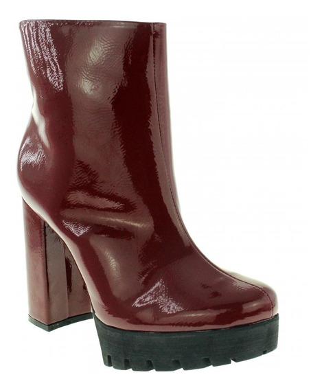Bota Di Cristalli 391922 Feminina Ankle Boot Vermelha Verniz
