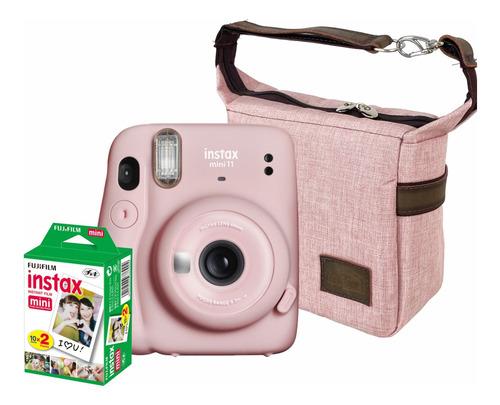 Kit Câmera Instantânea Instax Mini 11 Rosa + Bolsa + Fotos