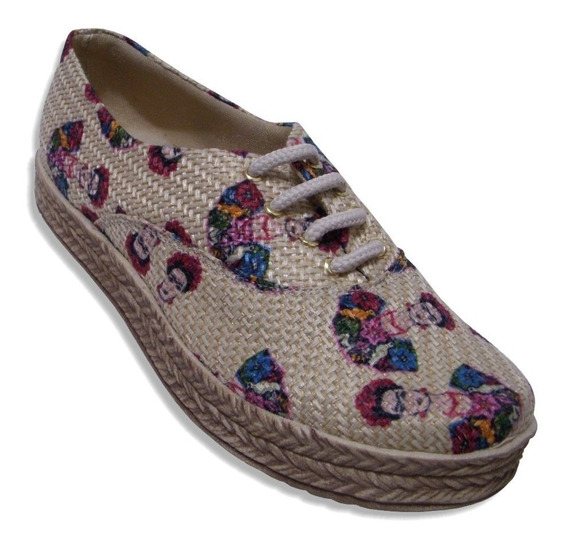 Zapato Tenis Calzado De Yute En Colores Cómodo Plataforma
