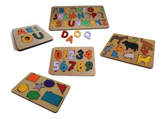 5 Brinquedo Tabuleiro Encaixe Educativo Pedagógico Mdf