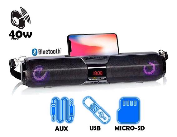 Home Caixa De Som Bluetooth Led Usb Fm Sdcard Aux Hmaston