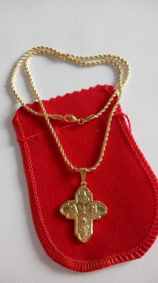 Colar Cordão 45cm Com A Cruz Todos Os Santos Banhado A Ouro