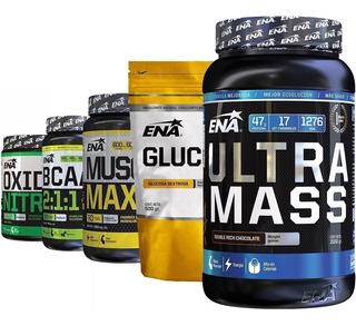 Combo Anabol 5 Whey Gainer Muscle Max Bcaa Arginina Glucosa