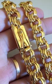 Cordão 12mm 70cm + Pulseira Folheada A Ouro 18k