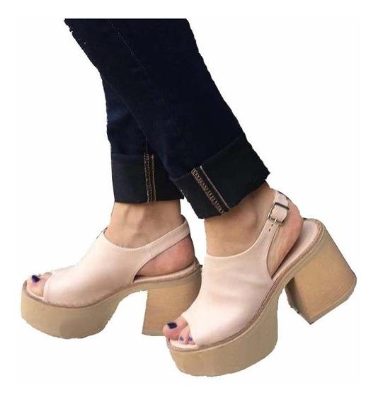 Zapatos Sandalias Mujer Con Plataforma Nude Talle 36