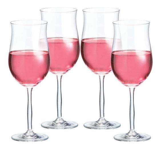 Jogo Taça De Vinho Bordeaux Rosé De 430ml Kit 4 Pcs