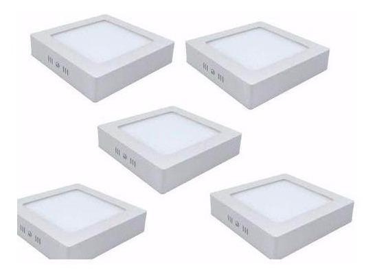 Kit 5 Plafon Luminaria Sobrepor Teto Led Quadrado Spot 12w