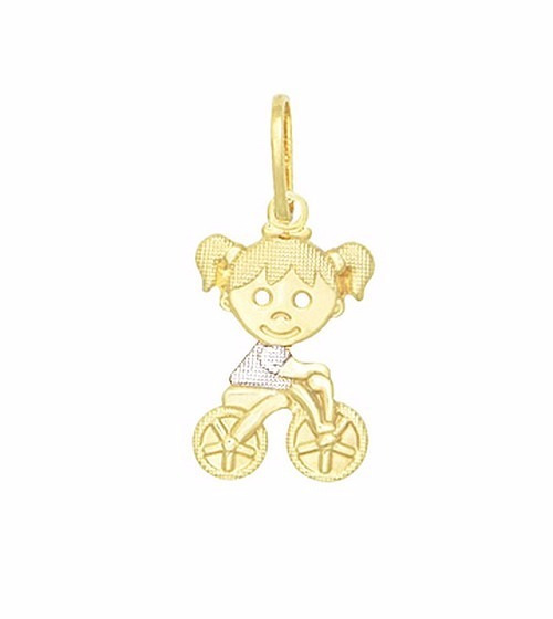 Pingente Menina Filha Bicicleta Ródio Folheado A Ouro 18k