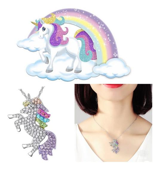 Colar Unicornio,strass Colorido,zinco,c/caixa,pony,barato