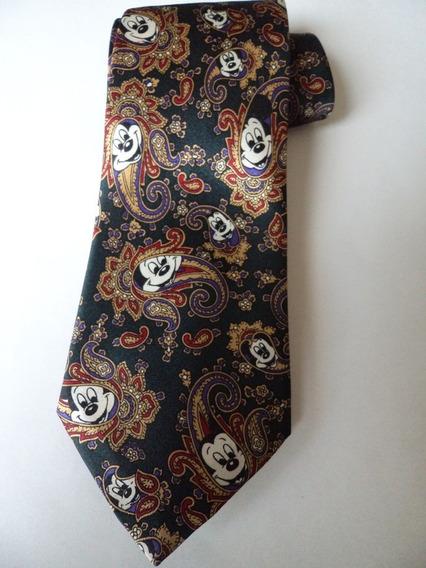 Corbata Verde Garigoleado Con Caras De Mickey Mouse Corb190