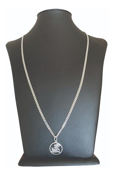 Cordão Fino Luxo Prata Italiana 925 Com Pingente São Jorge