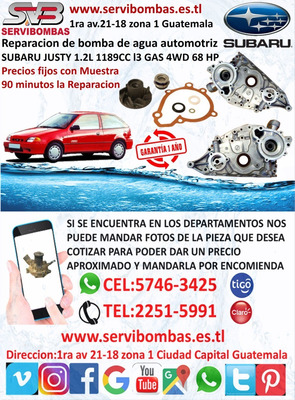Bombas De Agua Subaru Justy 1.2 Guatemala