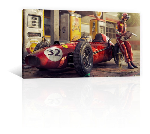 Imagen 1 de 10 de Cuadro Decorativo Canvas Coches Ferrari F1 Estacion De Gas