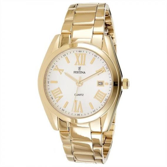Relógio Feminino Original Festina Dourado Grande Data Usado