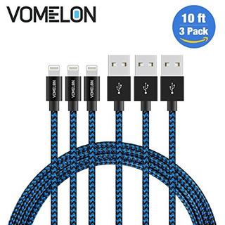 Relámpago Por Cable, 3pack 10ft Trenzado De Nylon Cable Extr