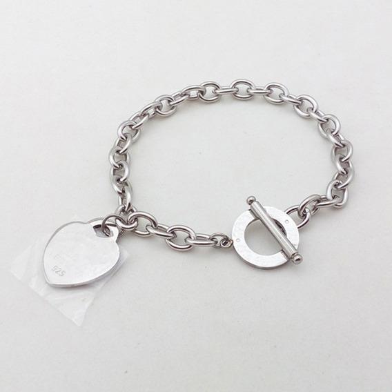 Pulseira Bracelete Coração Grande New York Aço Inoxidável