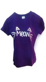 Playera Kawaii Miau Meow Algodón Gatito Camiseta