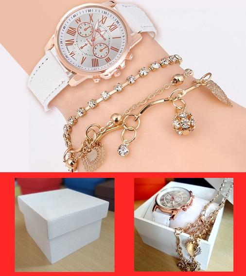 Kit Relógio Geneva Feminino Branco + Pulseira + Caixinha Mdf