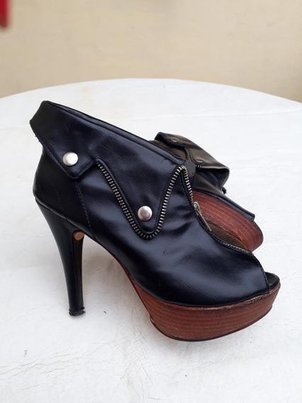 Zapatos Mujer Negros N 36/37taco Platafomas Muy Elegantes!