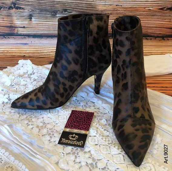 Botinetas Stilettos Animal Print Leopard Pu Art 9027