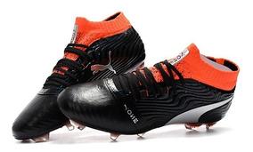Chuteira Puma One Leather 18.1 Black+red Campo Original :