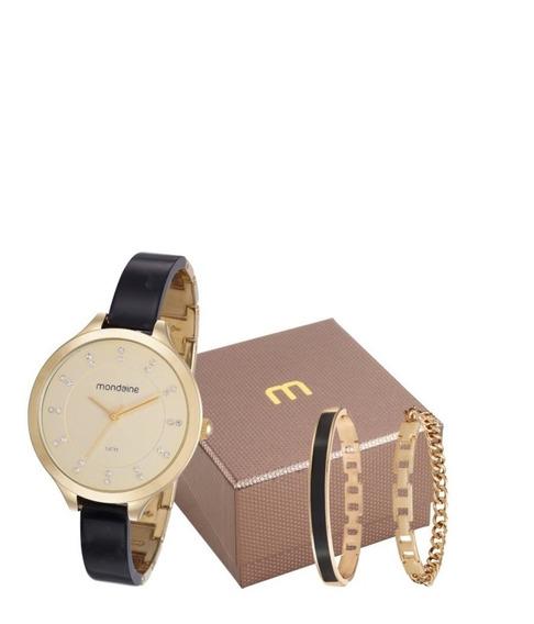 Kit Relógio Mondaine Com 2 Pulseiras Semi-jóia 53614lpmvdf2