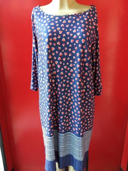 Vestido Feminino Azul Branco Coração Vermelho + Listras - G