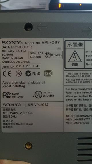 Projetor Sony Vpl-cs7 Para Retirada De Peças