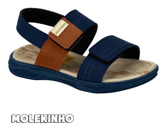 Sandália Infantil Menino Molekinho 2140205 Azul Original 19